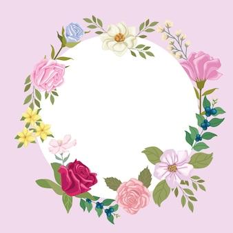 Rond frame met bloemen
