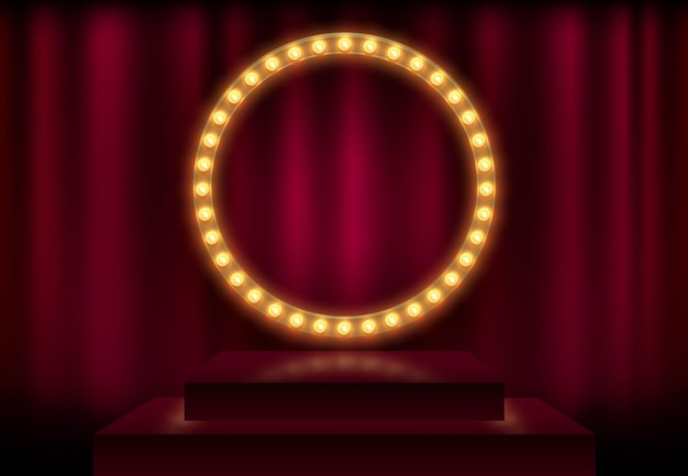 Rond frame met gloeiende glanzende gloeilampen, vectorillustratie. glanzende partijbanner op rode gordijnachtergrond en stadiumpodium. uithangbord met lampenrand voor loterij, casino, poker, roulette.