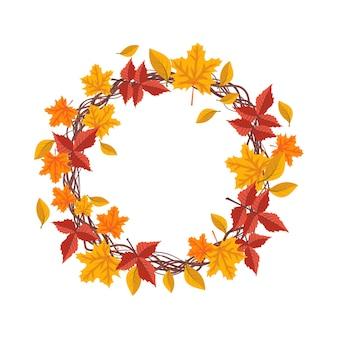 Rond frame met oranje en gele esdoornbladeren heldere herfstkrans met geschenken van de natuur en tak...