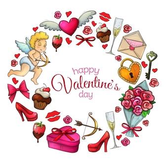 Rond frame met pictogrammen voor valentijnsdag.