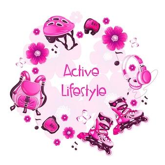 Rond frame met roze bloemensportaccessoires. rolschaatsen