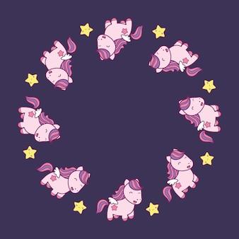 Rond frame met schattige kawaiistijlpaarden en sterren.