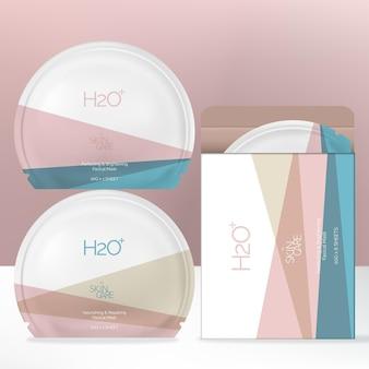 Rond gevormd gezichtsmaskerfoliezakpakket met minimalistisch patel geometrisch printpatroon en doosverpakking