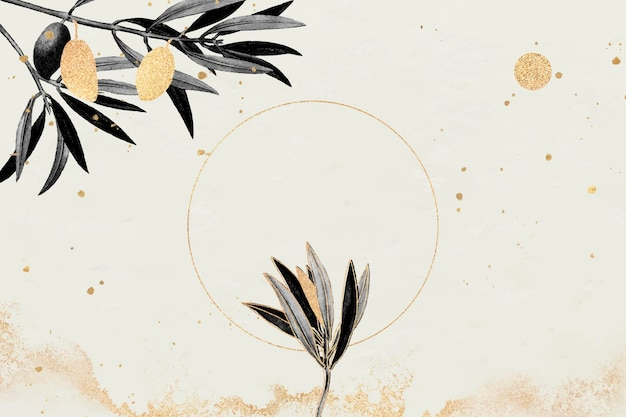 Rond gouden frame met olijftakken vectorbeelden