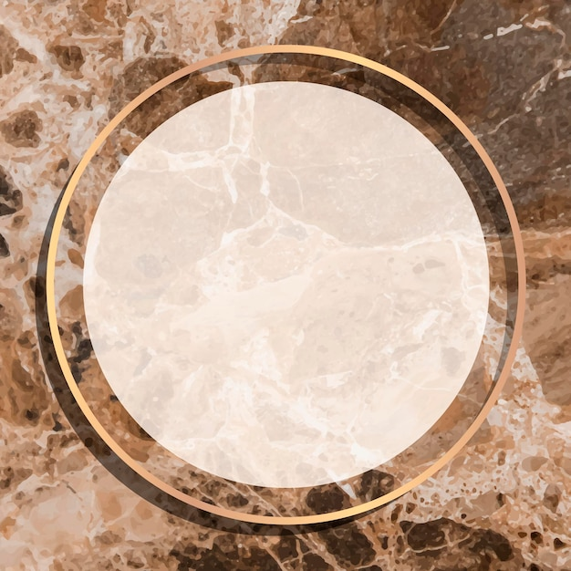 Rond gouden frame op bruine marmeren achtergrond