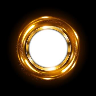 Rond gouden teken met tekstruimte bij het spinnen van gouden licht