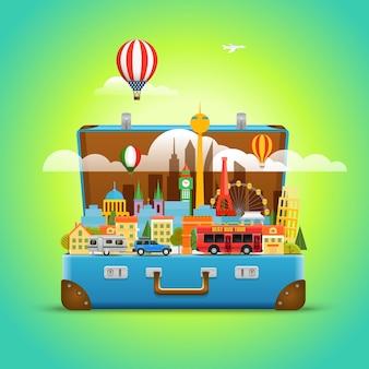 Rond het wereldconcept. moderne stadsgezicht vector reisillustratie
