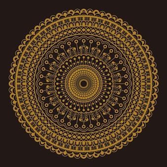 Rond motiefpatroonontwerp in gouden en donkerbruine kleur