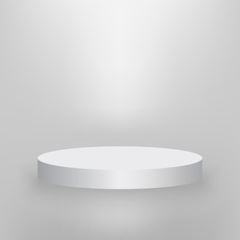 Rond podium, productpresentatie podium verlicht met licht, wit podium