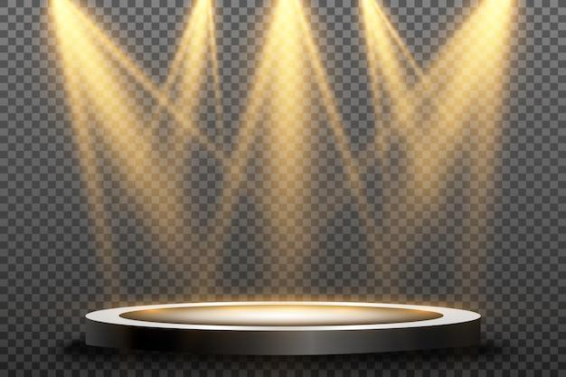 Rond podium, sokkel of platform, verlicht door schijnwerpers. helder licht. licht van boven.