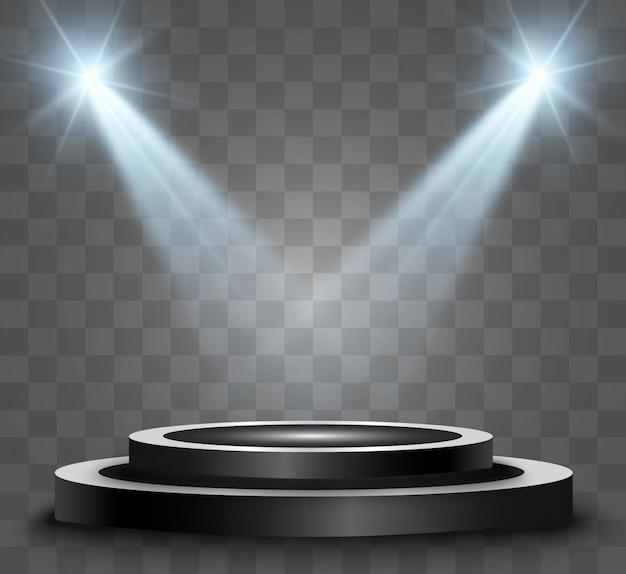 Rond podium, sokkel of platform, verlicht door schijnwerpers op de achtergrond. illustratie. helder licht. licht van boven. plaats voor reclame