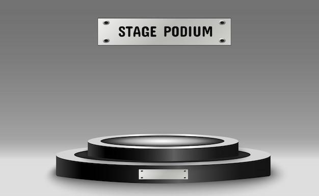 Rond podium, sokkel of platform, verlicht door schijnwerpers op de achtergrond.