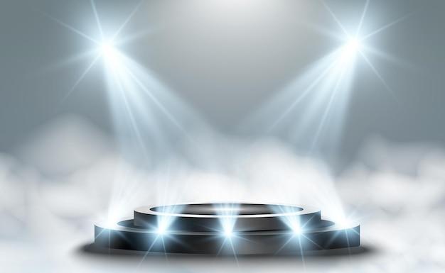 Rond podiumvoetstuk of platform verlicht door schijnwerpers op de achtergrond vectorillustratie
