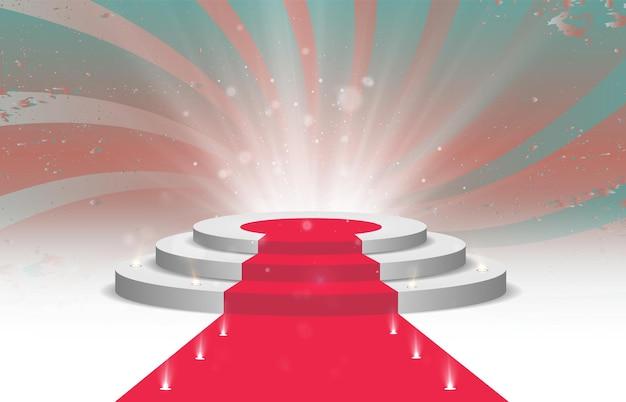 Rond podiumvoetstuk of platform verlicht door schijnwerpers op de achtergrond