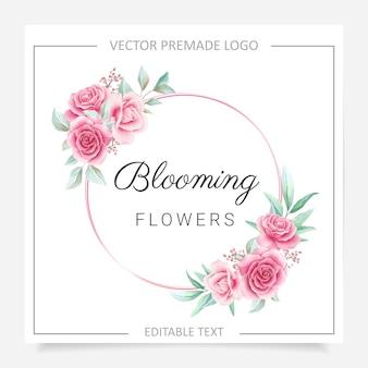 Rond premade-logo met bloemenframe met blozen en bordeauxrode bloemen