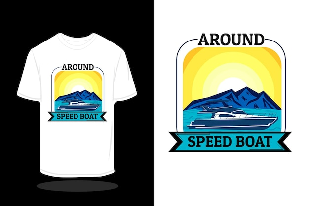 Rond speedboot retro t-shirtontwerp