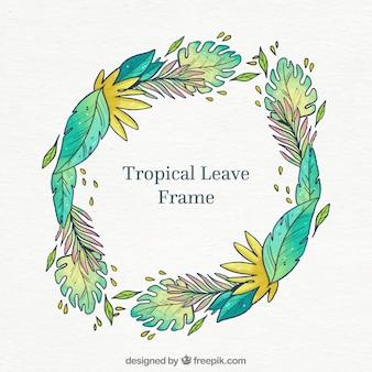 Rond tropisch bladerenkader