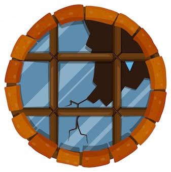 Rond venster met gebroken glas