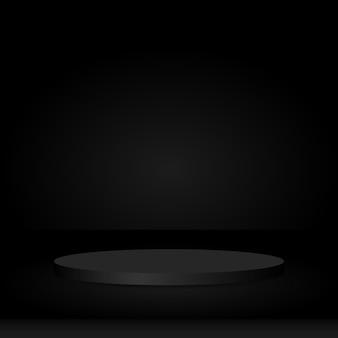 Rond voetstuk op zwart studioruimte cirkelvormig podium als achtergrond voor weergave van productreclame