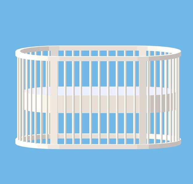 Rond wit ledikant. baby wieg. modern verpleegsterontwerp. vectorillustratie geïsoleerd.