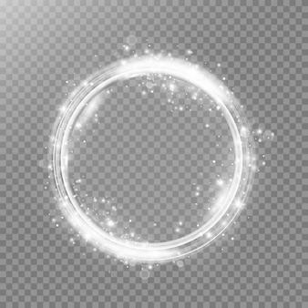 Rond wit licht glanzend met glitters op transparante achtergrond