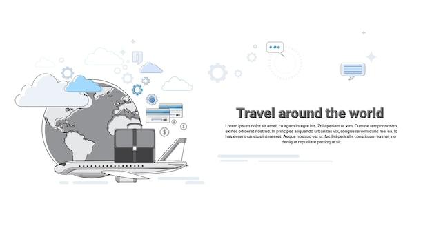 Rond world travel tourism web banner vector illustration