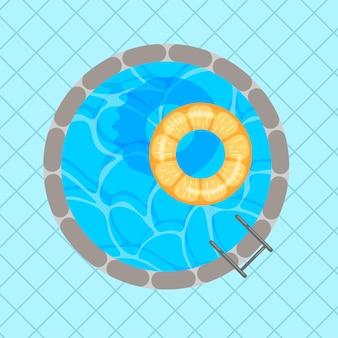 Rond zwembad met kleurrijke reddingsboei en vierkante tegels