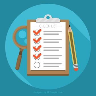 Ronde achtergrond met checklist en potlood