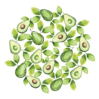 Ronde achtergrond van avocado-elementen en bladeren