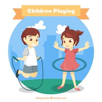 Ronde achtergrond van spelende kinderen