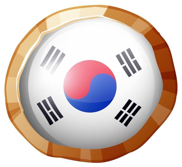 Ronde badge voor de vlag van korea