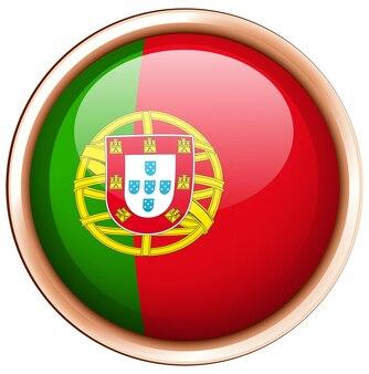 Ronde badge voor de vlag van portugal