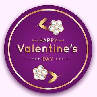 Ronde banner met een bloem van diamanten. wenskaart voor valentijnsdag. op een paarse achtergrond.