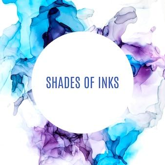 Ronde banner, paarse en blauwe tinten aquarel achtergrond, natte vloeistof, hand getekende vector aquarel textuur
