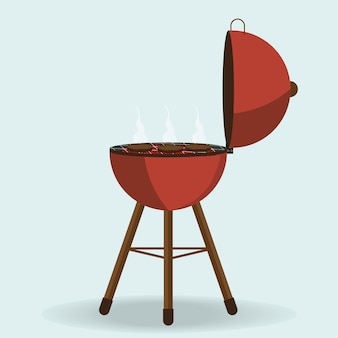 Ronde barbecue grill geïsoleerd op wit.