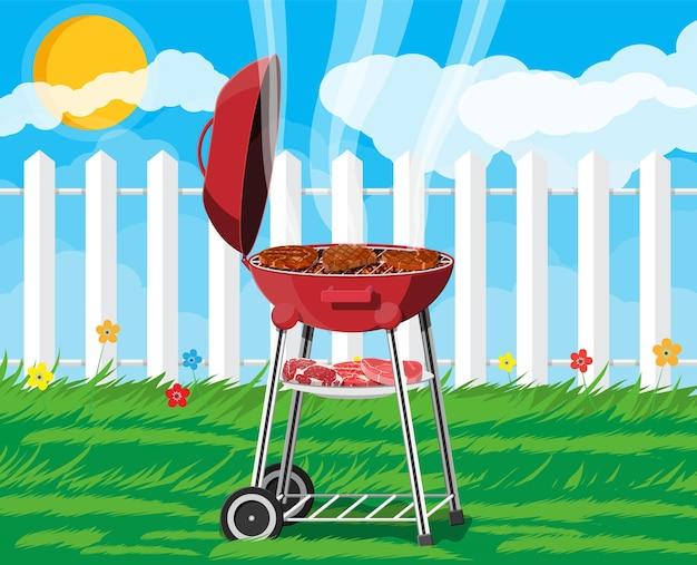 Ronde barbecuegrill. bbq-pictogram. elektrische grill. apparaat voor het frituren van voedsel. vers vlees en biefstuk. vectorillustratie in vlakke stijl