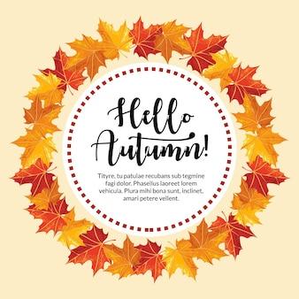 Ronde bladeren met de hello herfst van tekst