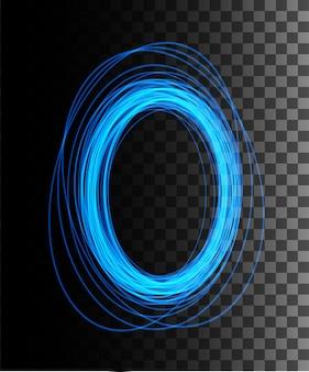 Ronde blauwe gloedstralen nachtscène met vonken