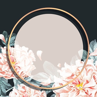 Ronde bloemen pioen frame sociale advertenties sjabloon