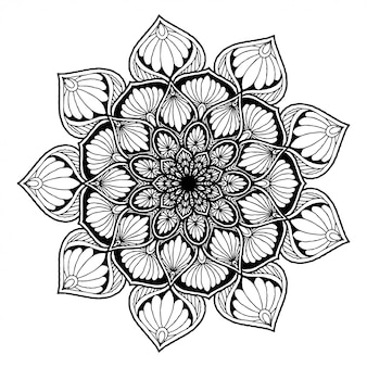 Ronde bloemenmandala voor tatoeage, henna. vintage decoratieve elementen.