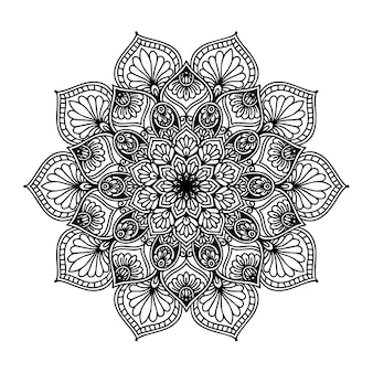 Ronde bloemmandala voor tattoo, henna of kleurplaat