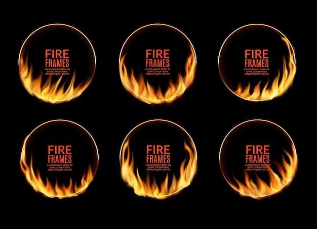 Ronde circusframes met vuurvlammen en brandende cirkelringen, vector. vuur licht gloed effect grenskaders van brandende fakkels of laaiende vlam en zinderende glans