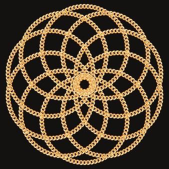 Ronde cirkel gemaakt met gouden kettingen. op zwart.