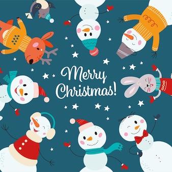 Ronde compositie met grappige dieren en verschillende sneeuwpopkarakters in hoed, sjaal, trui geïsoleerd. vectorillustratie platte cartoon. voor kaart, partyflayer, uitnodiging, banner, verpakking, patroon.