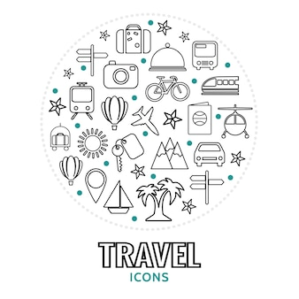 Ronde compositie met reiselementen