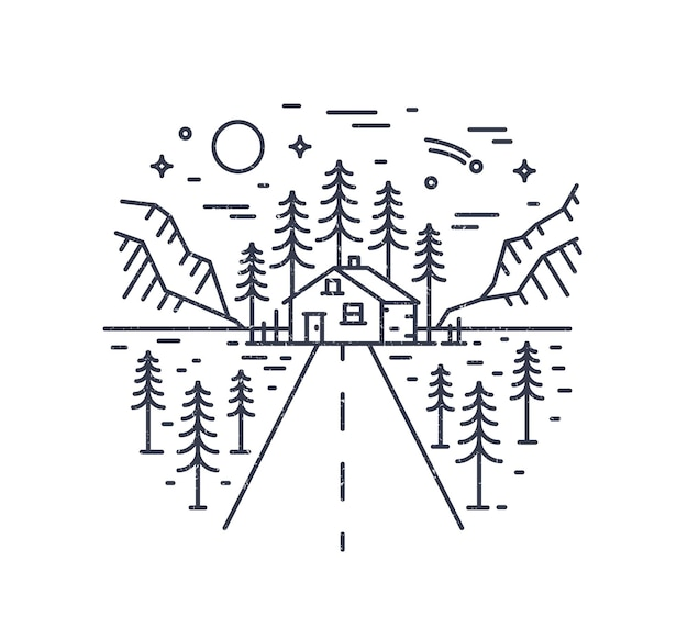 Ronde compositie met snelweg die leidt naar lodge, huis of hut in bos omringd door sparren en bergen getekend met contourlijnen. monochroom