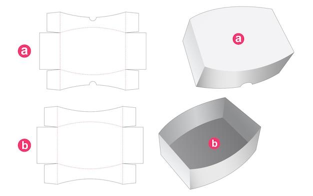 Ronde doos en rond deksel gestanst sjabloon Premium Vector