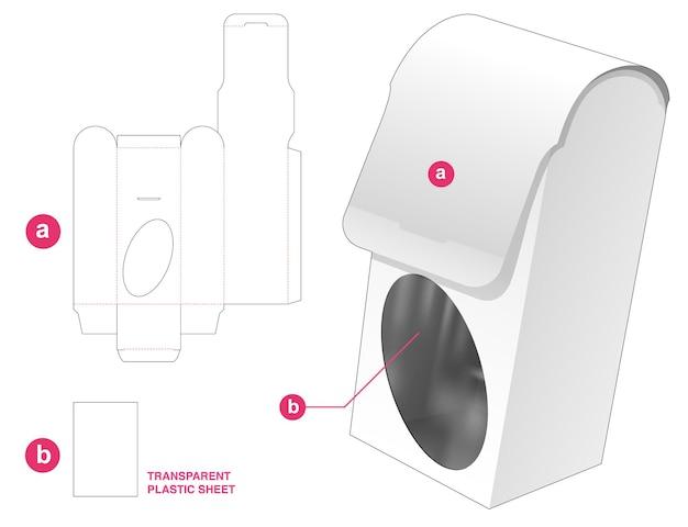 Ronde flip-verpakking en ellipsvormig venster met gestanste sjabloon van transparant plastic vel Premium Vector