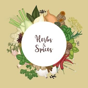 Ronde frame achtergrond met specerijen en kruiden