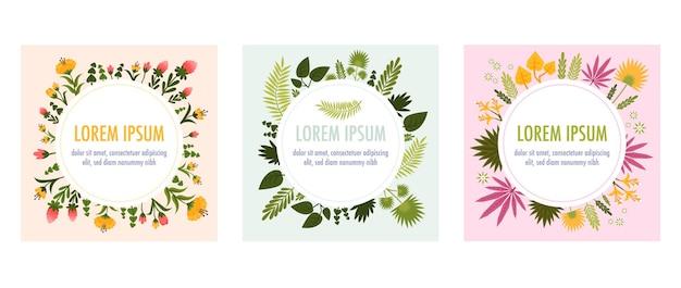 Ronde frames bezet met bloemen en planten